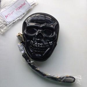 New Betsey Johnson black jelly skull bag purse